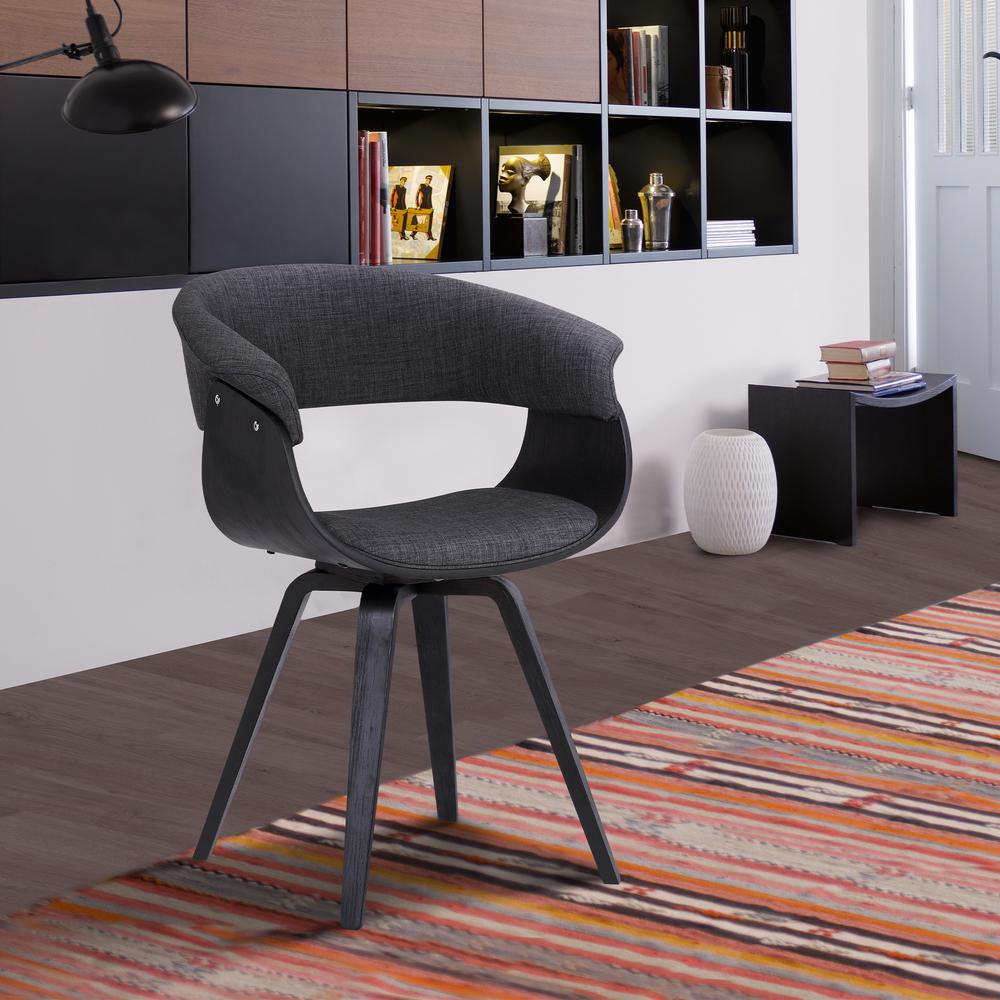 Contemporary Dining Chair in Black Brush Wood Finish and Charcoal Fabric. Picture 6