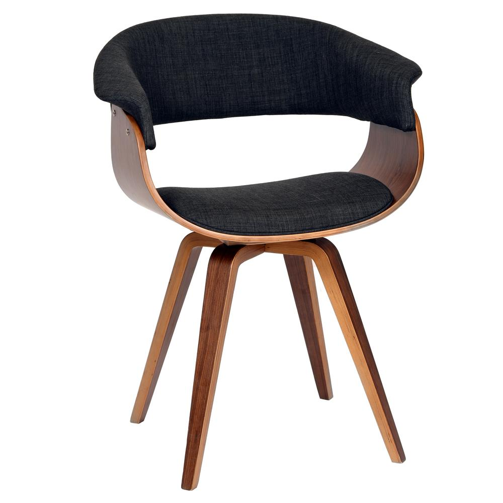 Armen Living Summer Modern Chair In Charcoal Fabric and Walnut Wood. Picture 1