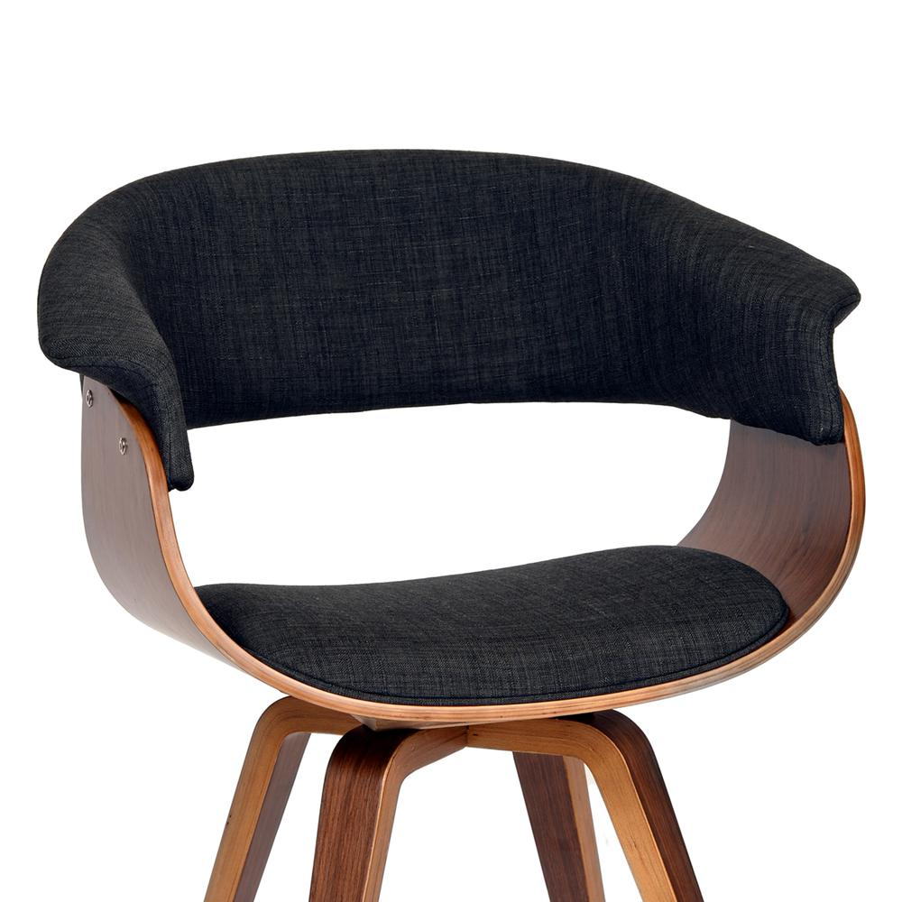 Armen Living Summer Modern Chair In Charcoal Fabric and Walnut Wood. Picture 2