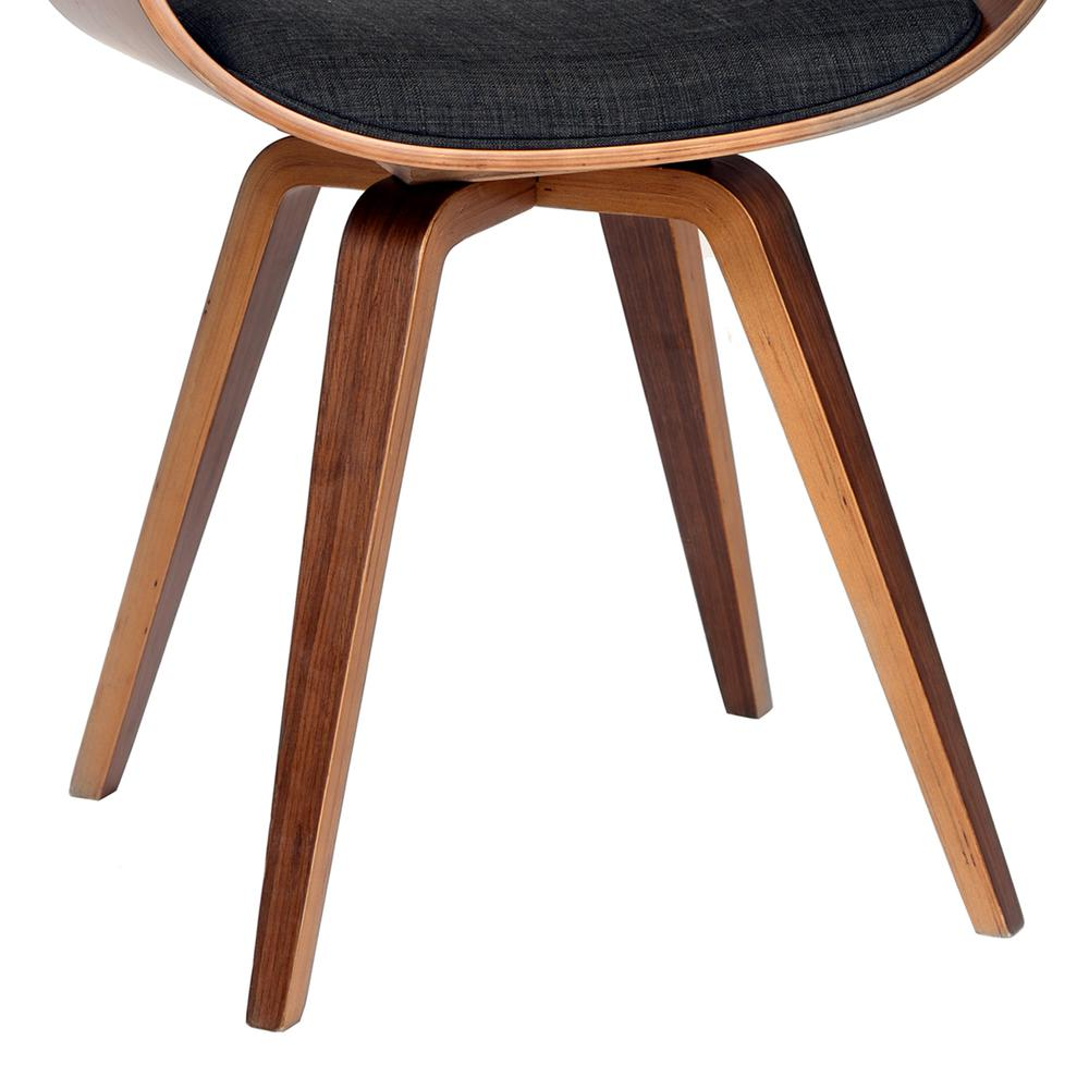Armen Living Summer Modern Chair In Charcoal Fabric and Walnut Wood. Picture 3