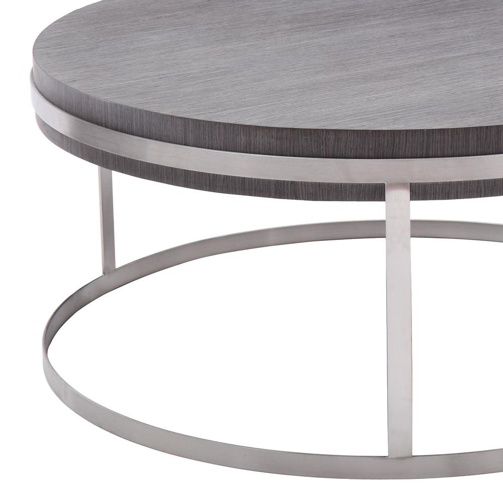 Armen Living Sunset Coffee Table in Brushed Stainless Steel finish with Grey Top. Picture 2