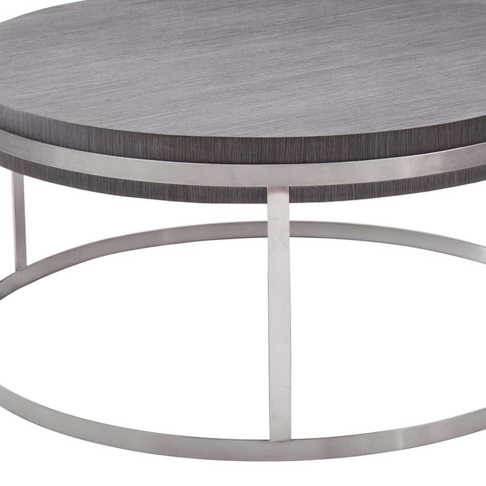 Armen Living Sunset Coffee Table in Brushed Stainless Steel finish with Grey Top. Picture 3