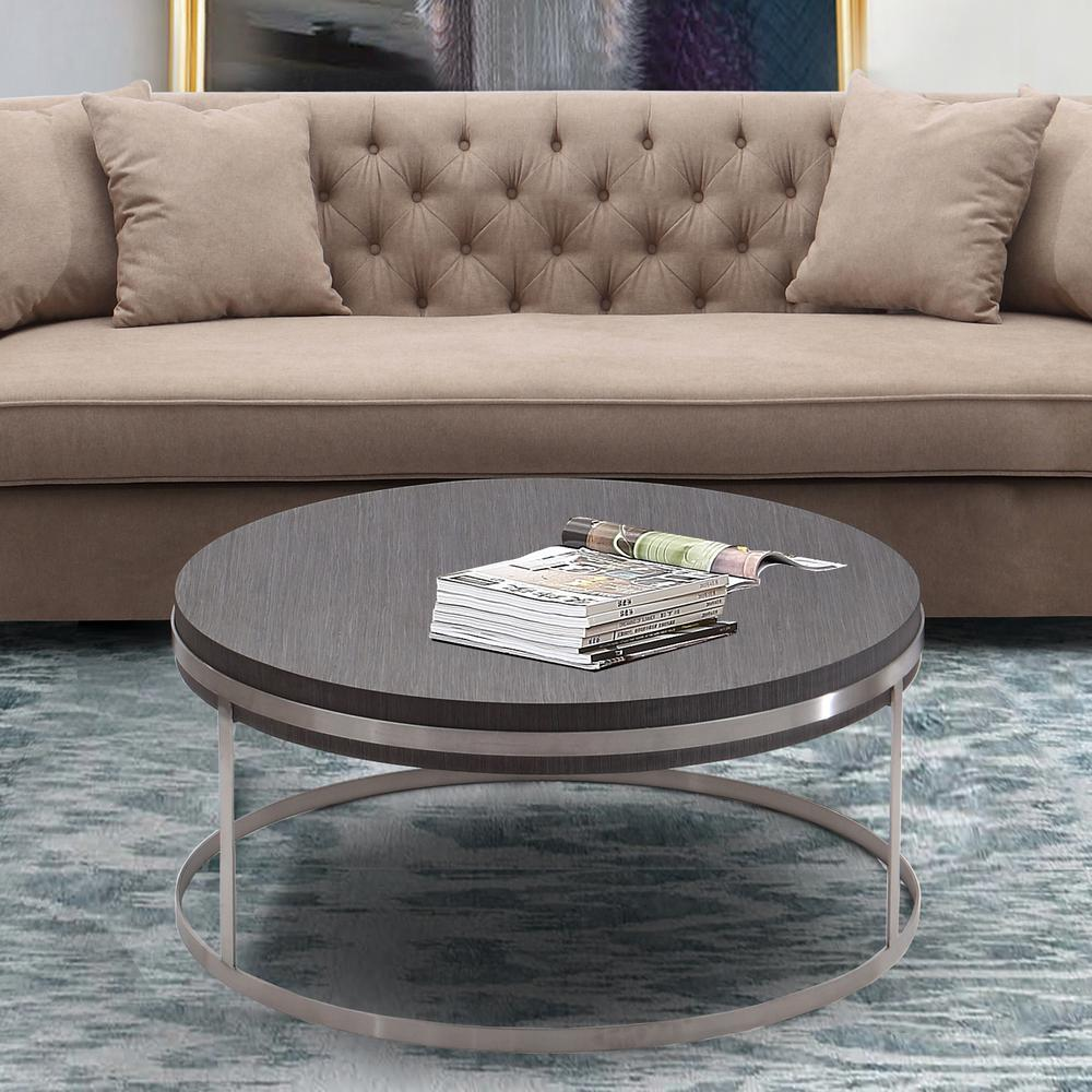 Coffee Table in Brushed Stainless Steel finish with Grey Top. Picture 4