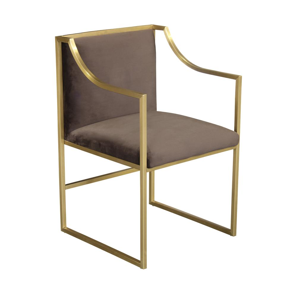 Contemporary Dining Chair in Brushed Gold Finish and Brown Fabric. Picture 1