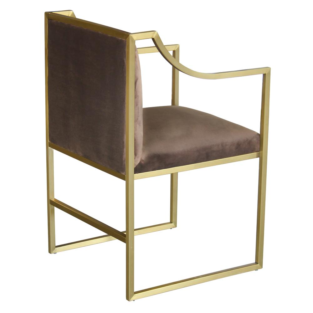 Contemporary Dining Chair in Brushed Gold Finish and Brown Fabric. Picture 2