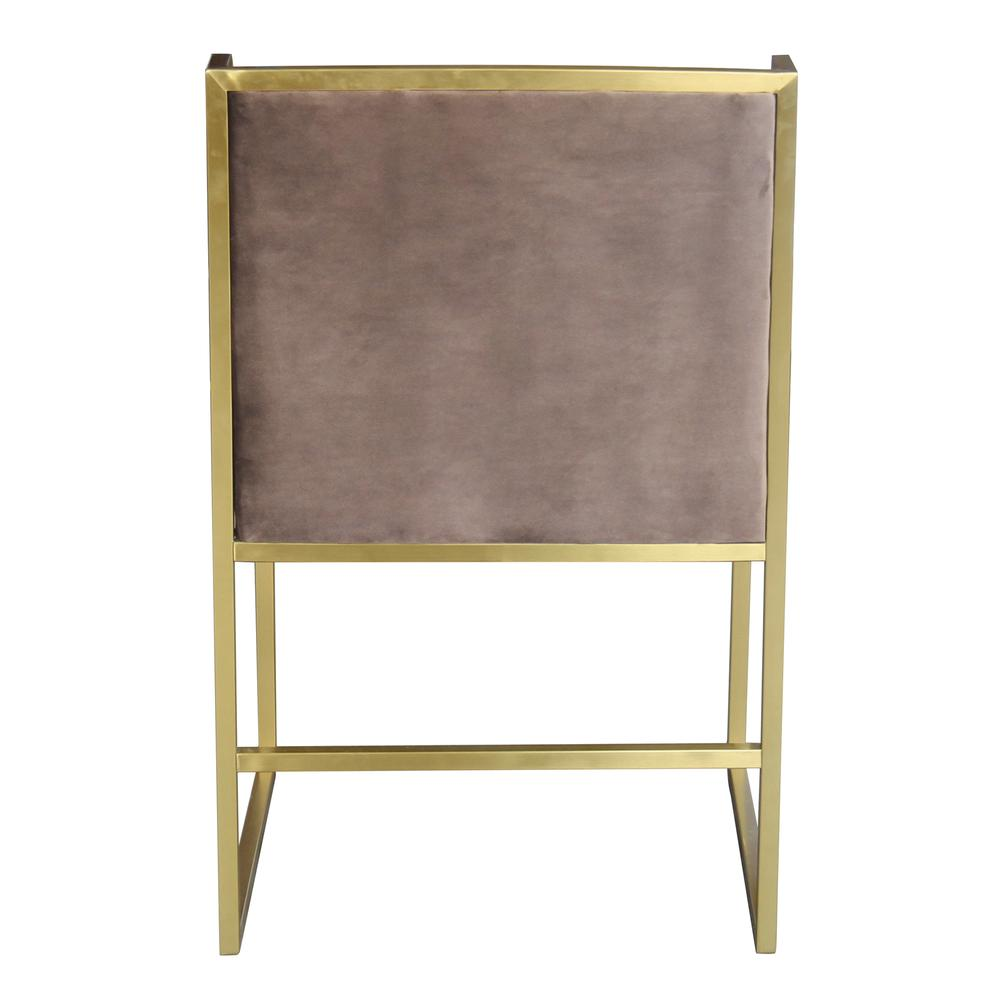 Contemporary Dining Chair in Brushed Gold Finish and Brown Fabric. Picture 3