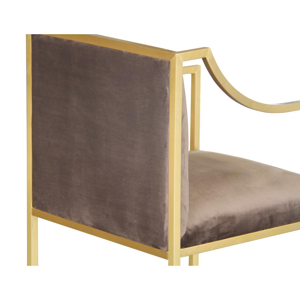 Contemporary Dining Chair in Brushed Gold Finish and Brown Fabric. Picture 4