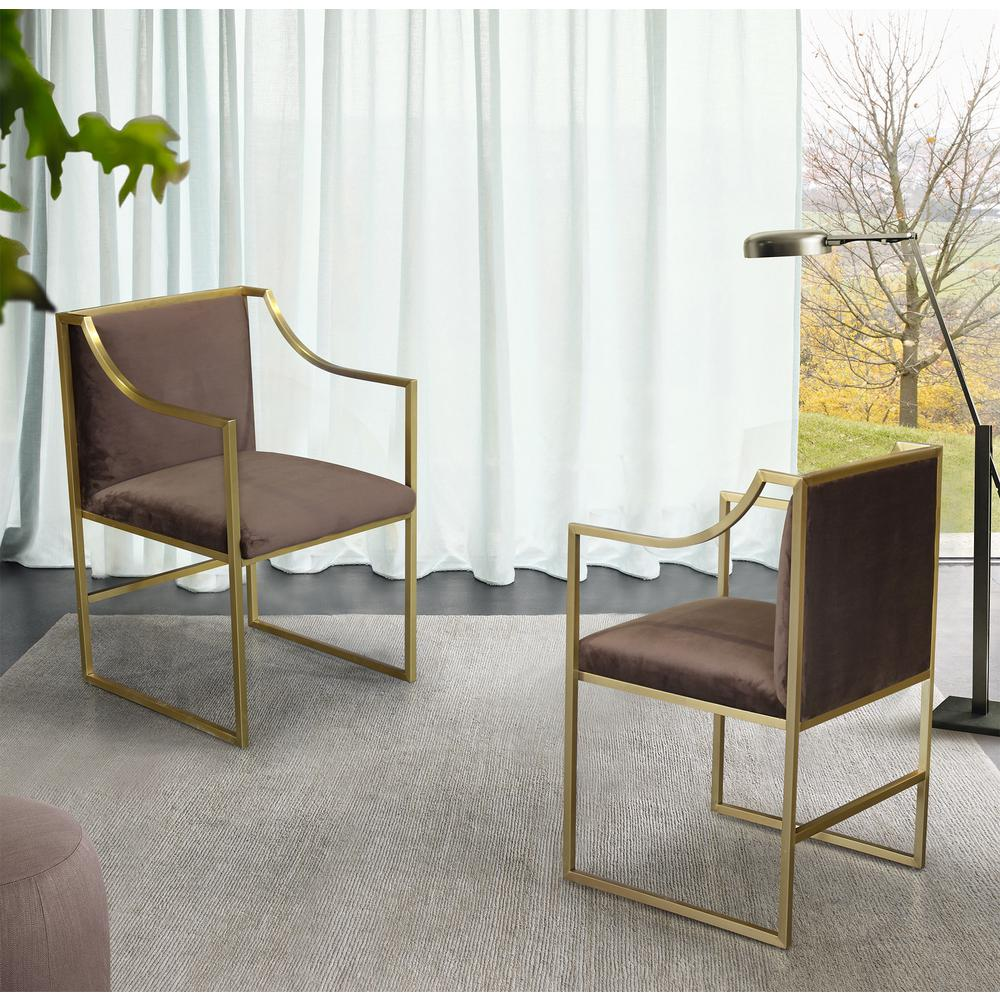Contemporary Dining Chair in Brushed Gold Finish and Brown Fabric. Picture 6
