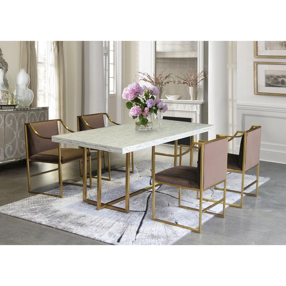 Contemporary Dining Chair in Brushed Gold Finish and Brown Fabric. Picture 7