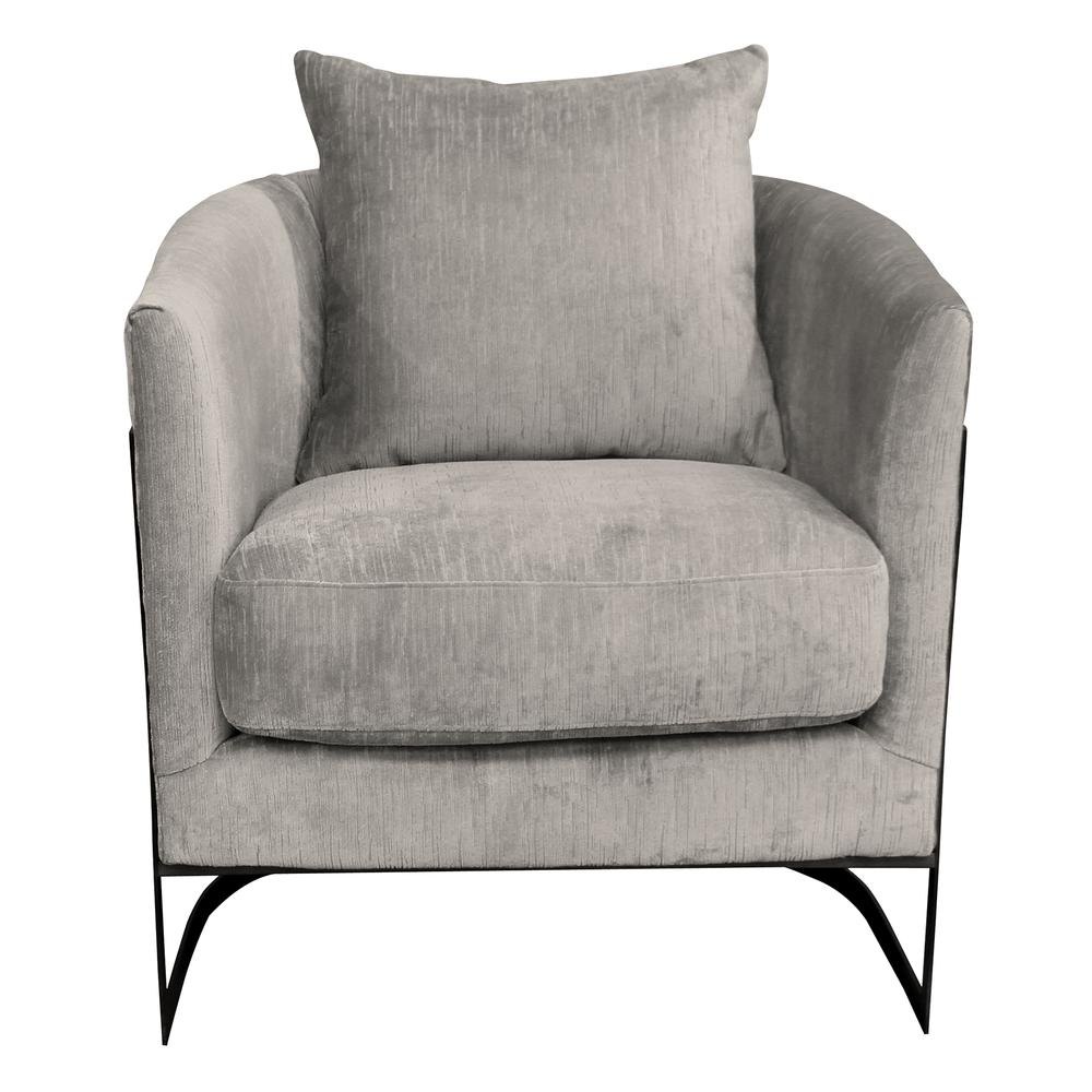 Contemporary Accent Chair with Black Iron Finish and Beige Fabric. Picture 1