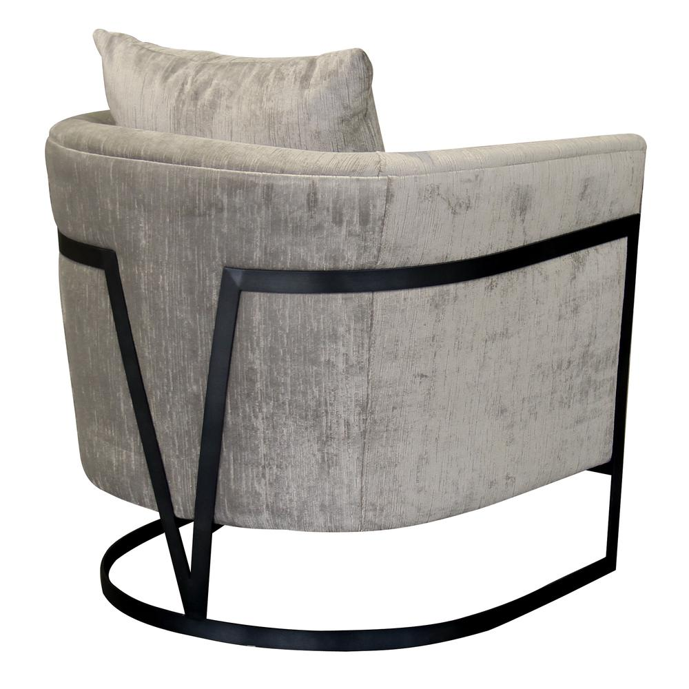 Contemporary Accent Chair with Black Iron Finish and Beige Fabric. Picture 2