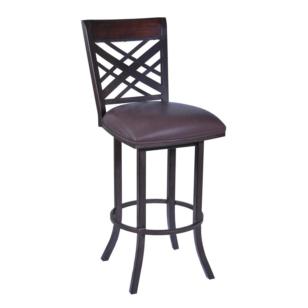 """Tahiti  30"""" Barstool in Auburn Bay finish with Brown Pu upholstery. Picture 1"""