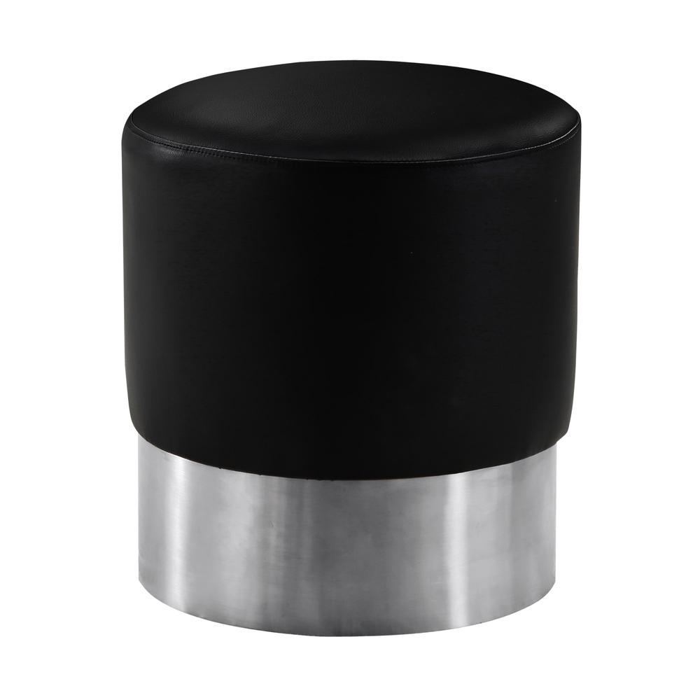 Contemporary Round Ottoman in Brushed Stainless Steel with Black Faux Leather. Picture 1