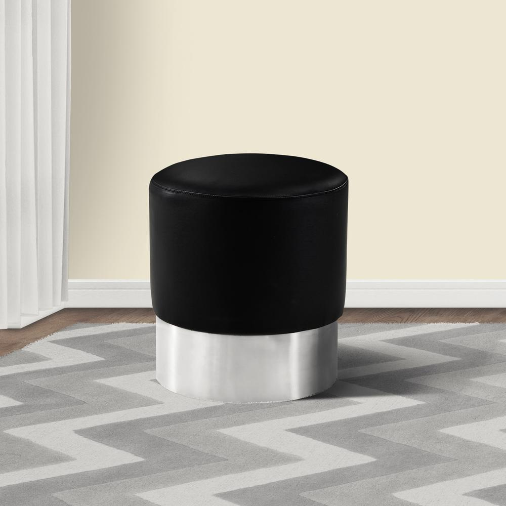 Contemporary Round Ottoman in Brushed Stainless Steel with Black Faux Leather. Picture 2