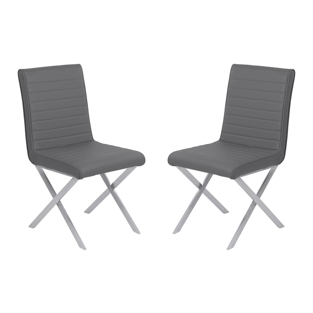 Armen Living Tempe Contemporary Dining Chair in Gray Faux Leather with Brushed Stainless Steel Finish - Set of 2. Picture 1