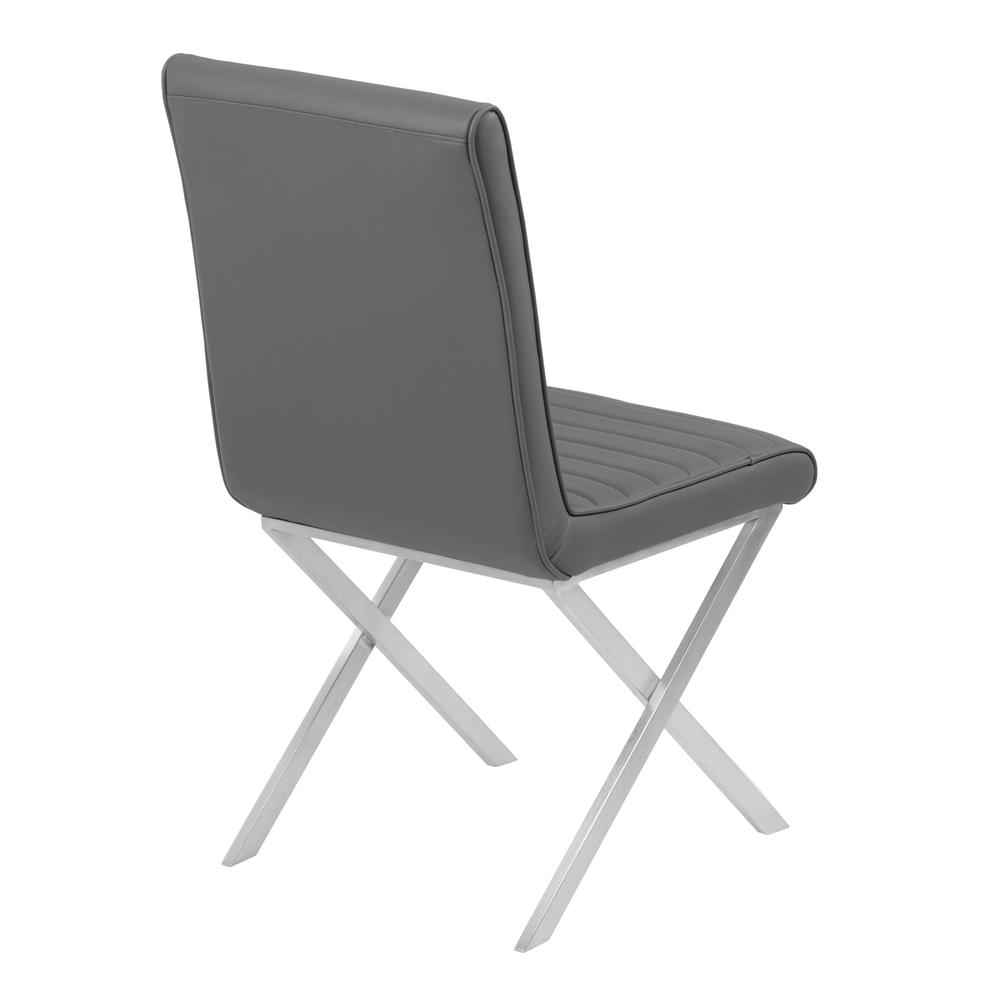 Armen Living Tempe Contemporary Dining Chair in Gray Faux Leather with Brushed Stainless Steel Finish - Set of 2. Picture 3