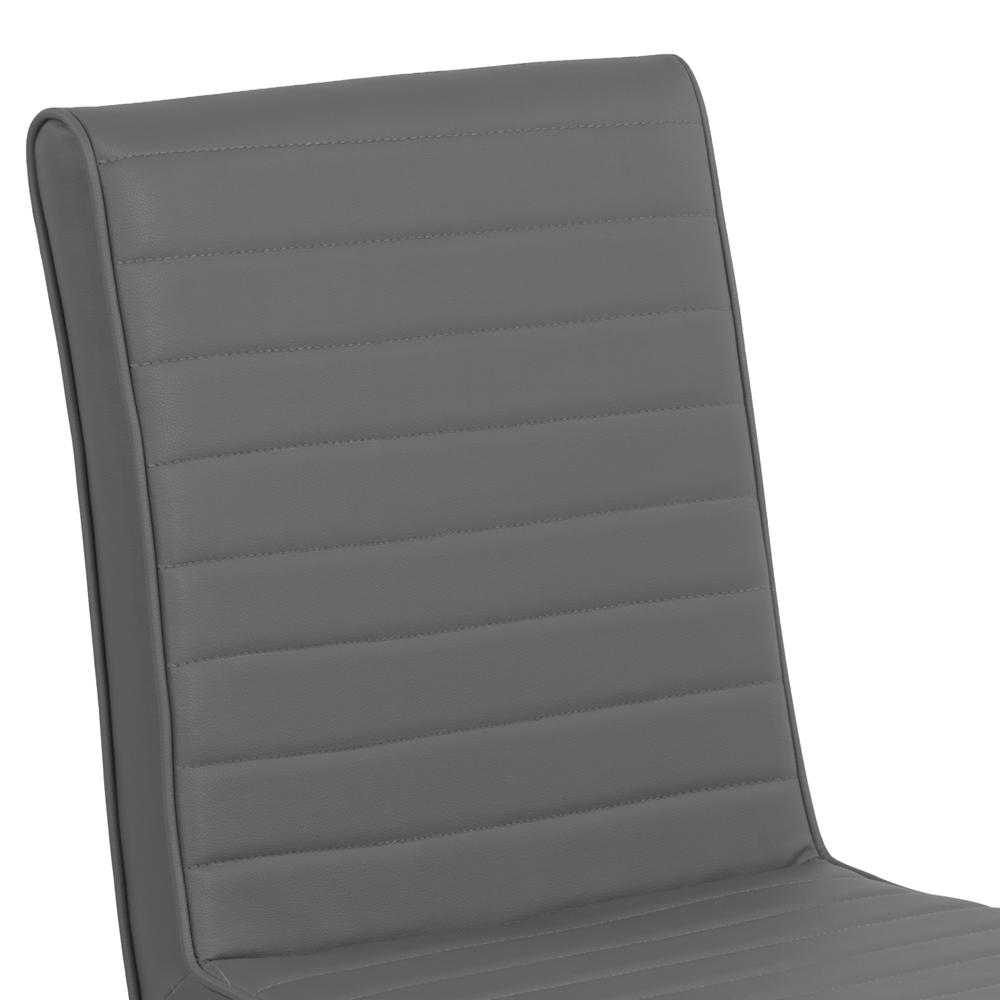 Armen Living Tempe Contemporary Dining Chair in Gray Faux Leather with Brushed Stainless Steel Finish - Set of 2. Picture 4