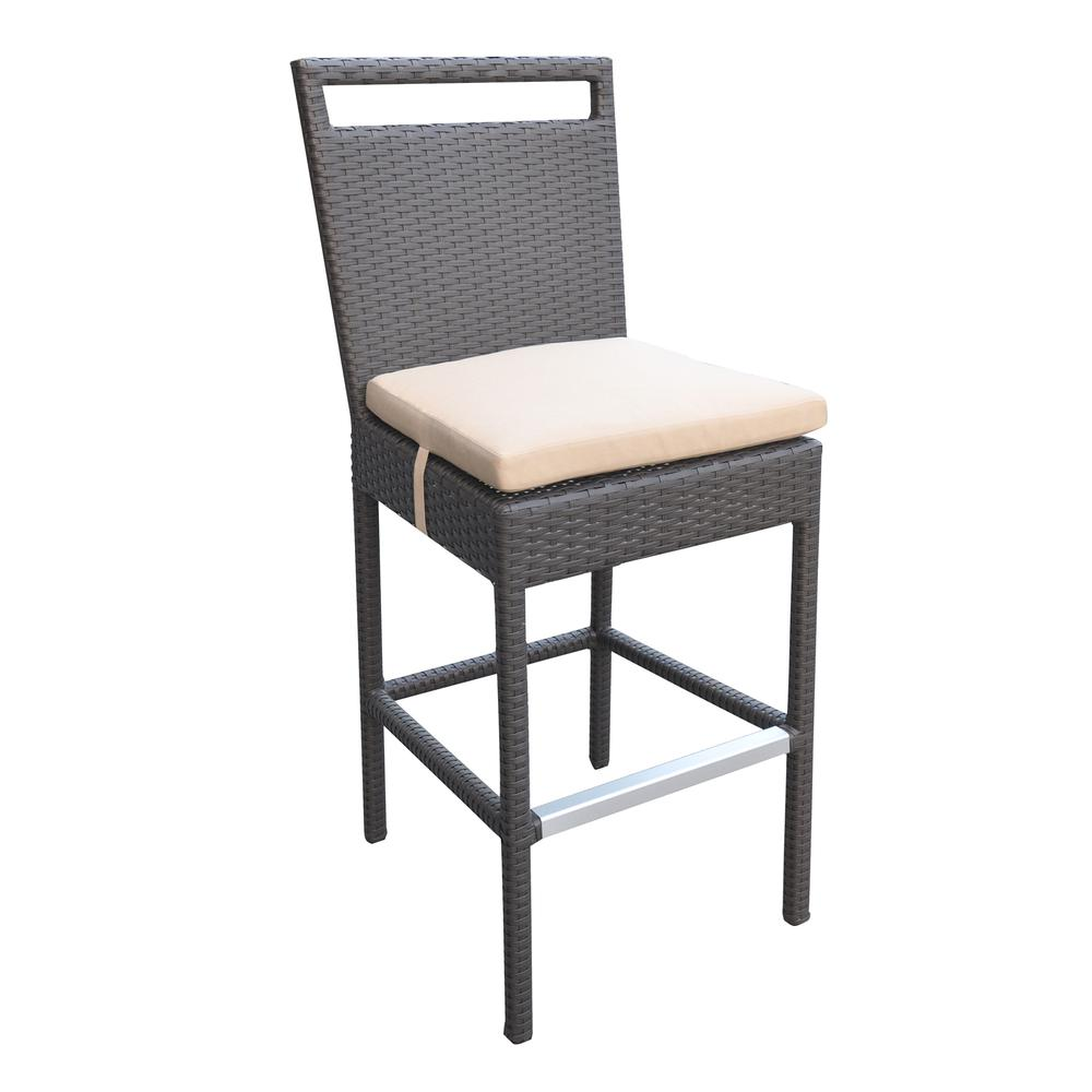 Outdoor Patio Wicker Barstool with Water Resistant Beige Fabric Cushions. Picture 1