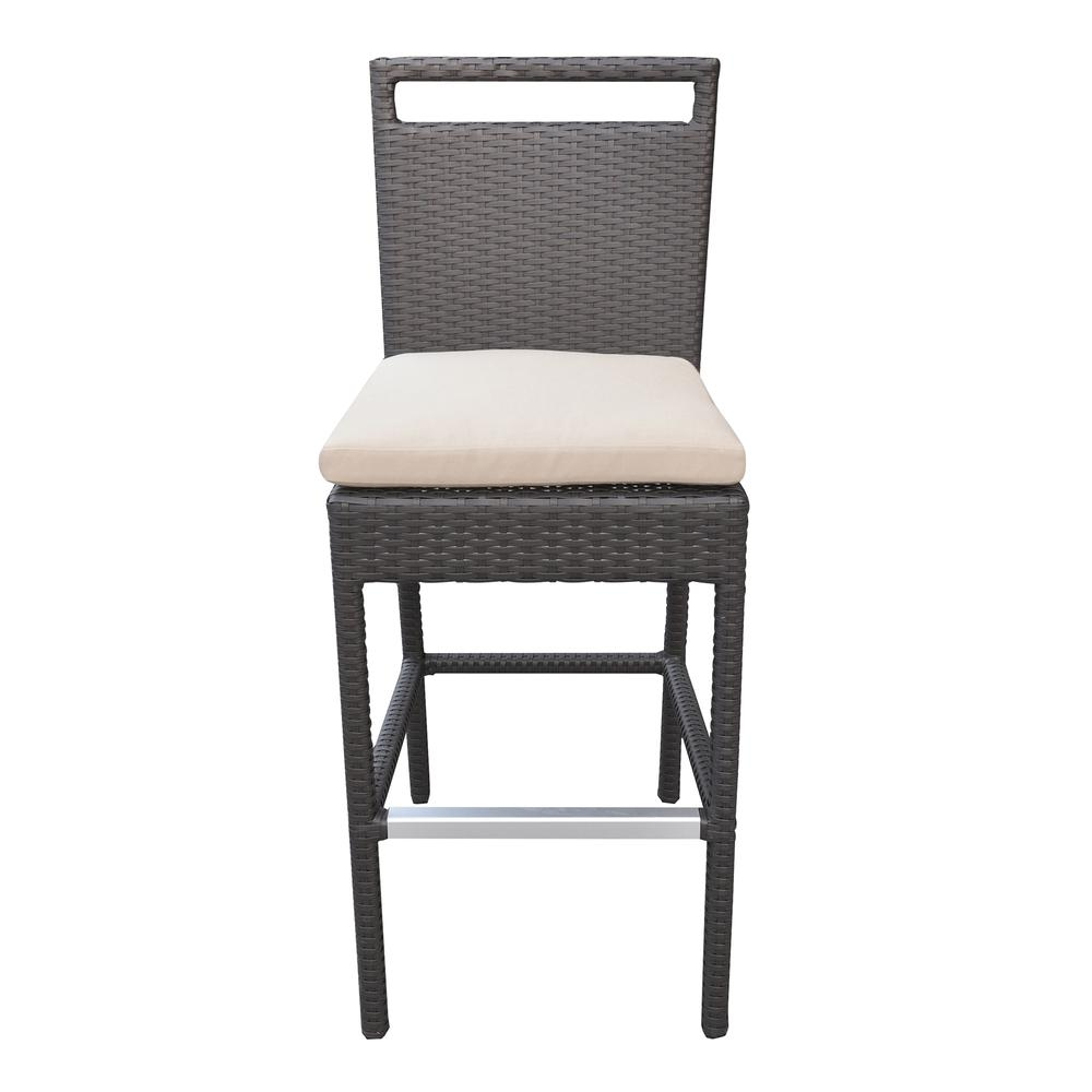 Outdoor Patio Wicker Barstool with Water Resistant Beige Fabric Cushions. Picture 2
