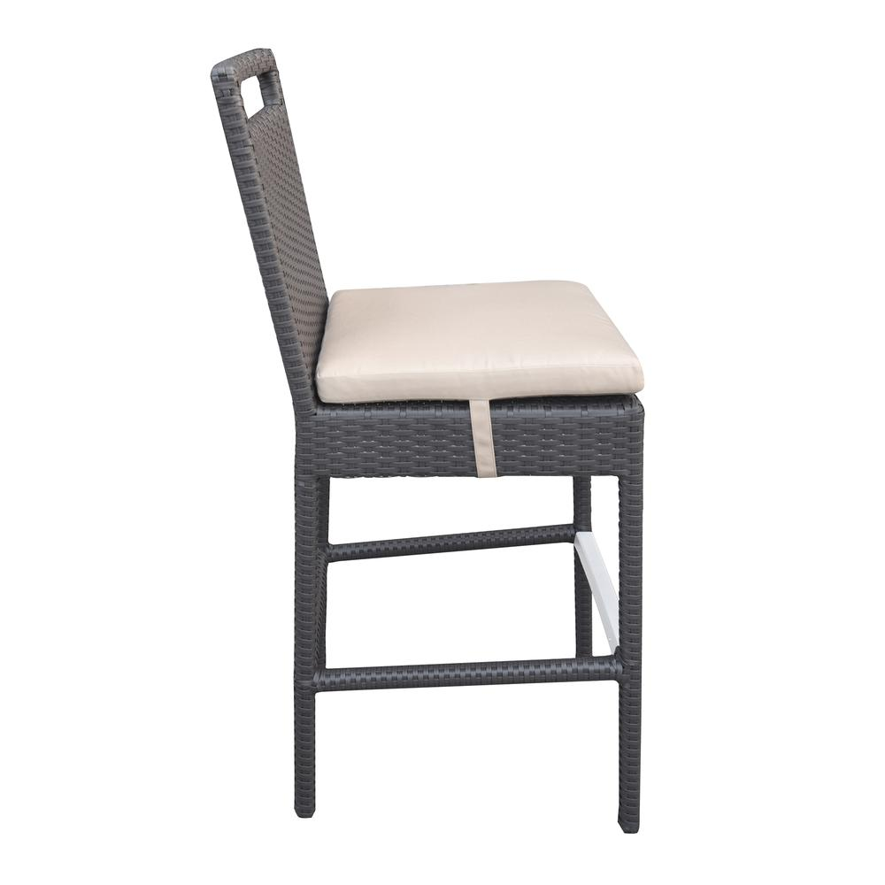 Outdoor Patio Wicker Barstool with Water Resistant Beige Fabric Cushions. Picture 3