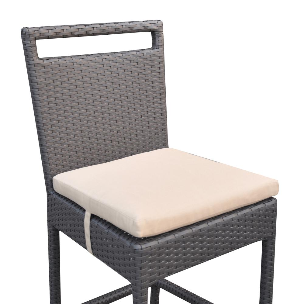 Outdoor Patio Wicker Barstool with Water Resistant Beige Fabric Cushions. Picture 4