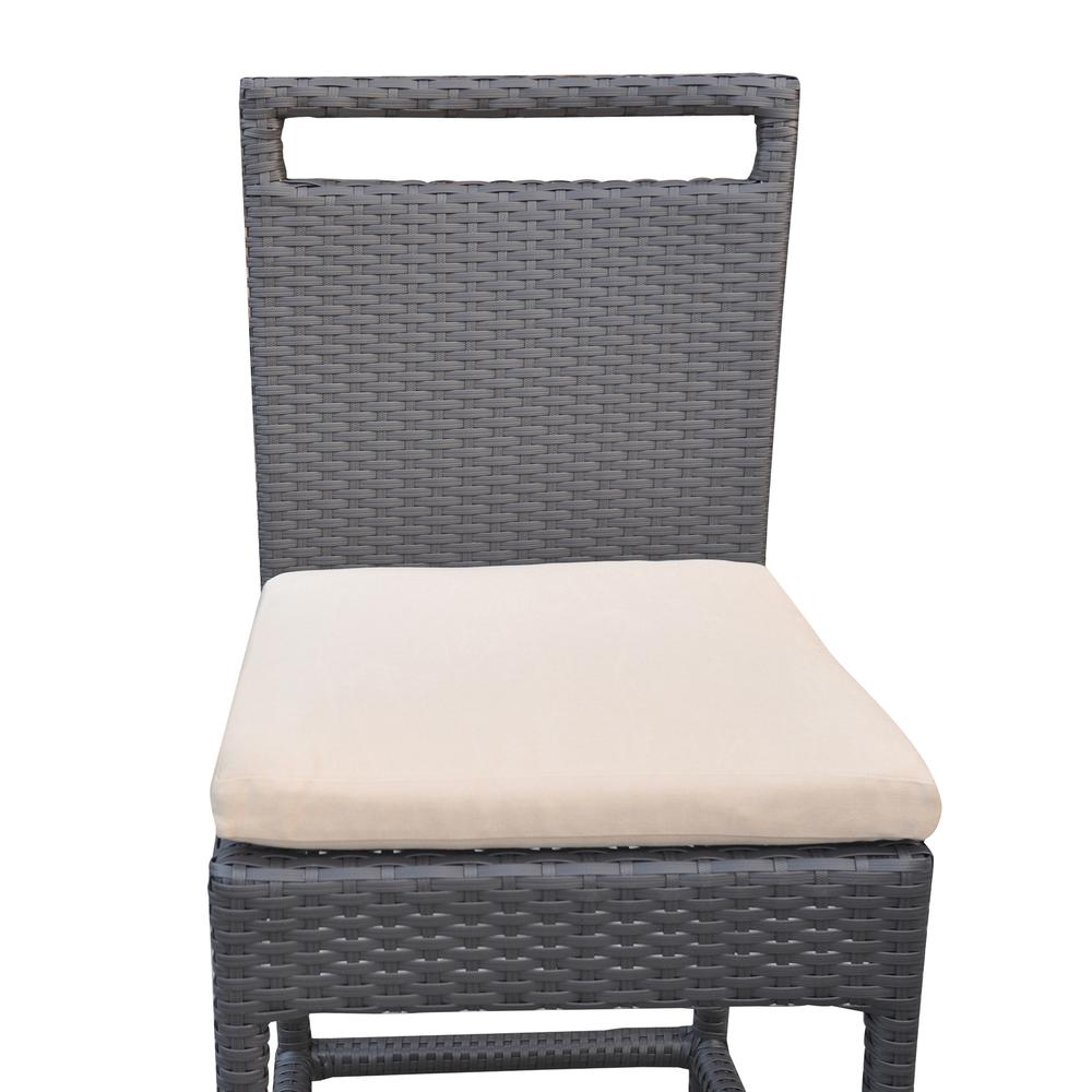 Outdoor Patio Wicker Barstool with Water Resistant Beige Fabric Cushions. Picture 5