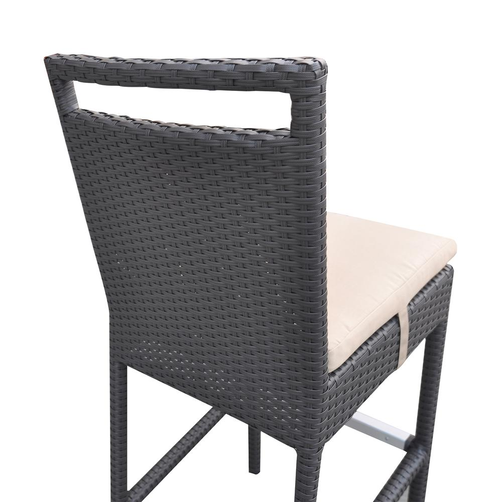 Outdoor Patio Wicker Barstool with Water Resistant Beige Fabric Cushions. Picture 6