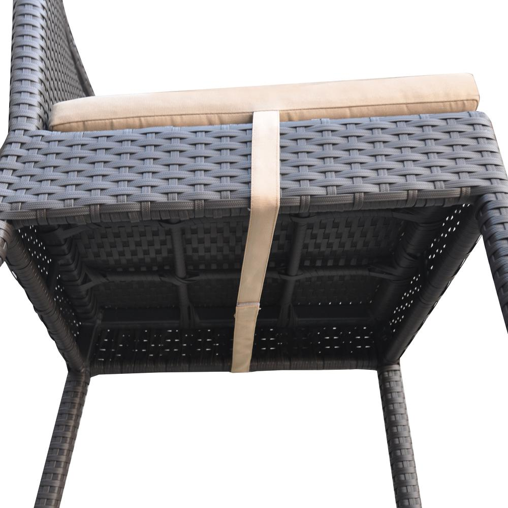 Outdoor Patio Wicker Barstool with Water Resistant Beige Fabric Cushions. Picture 7