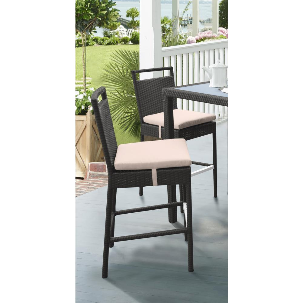 Outdoor Patio Wicker Barstool with Water Resistant Beige Fabric Cushions. Picture 8