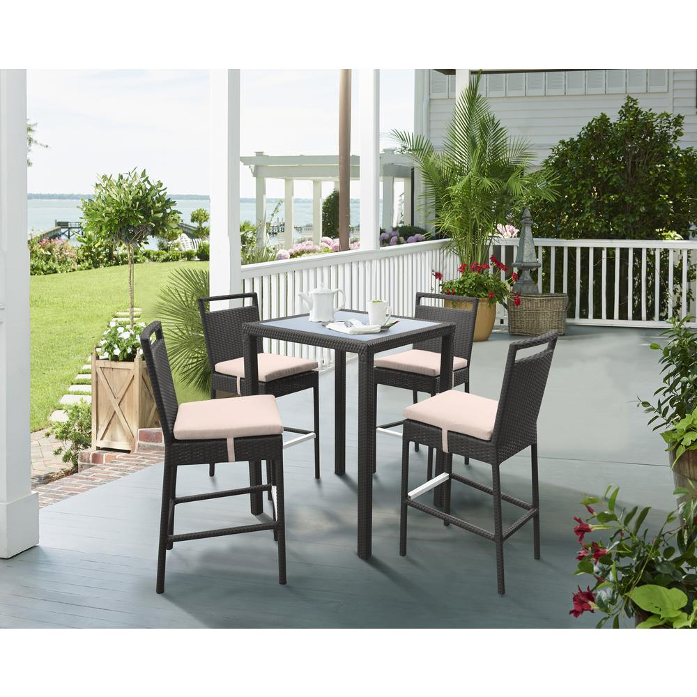Outdoor Patio Wicker Barstool with Water Resistant Beige Fabric Cushions. Picture 9