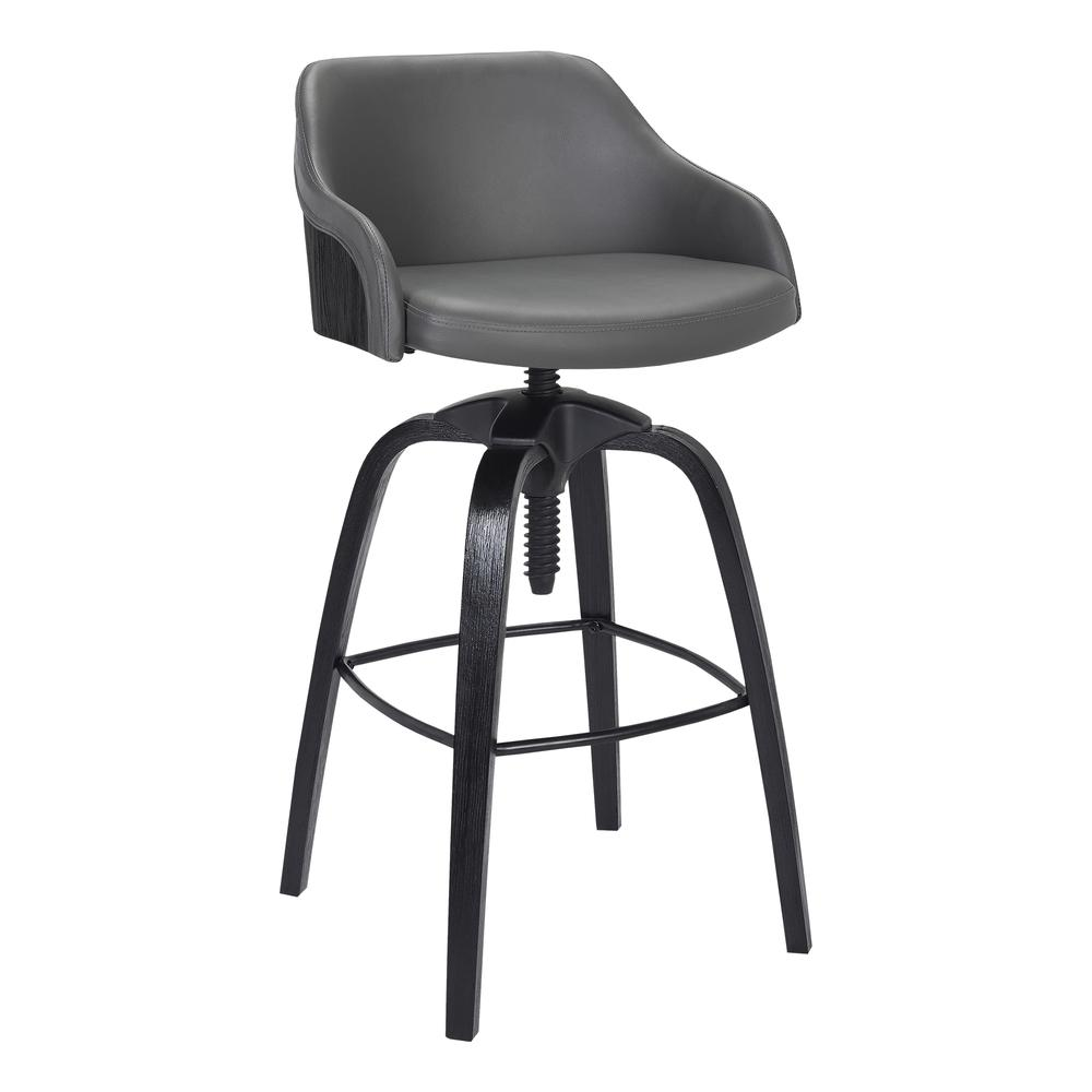 Contemporary Adjustable Barstool in Black Brushed Wood Finish and Grey Faux Leather. Picture 1