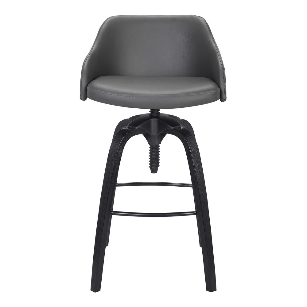 Contemporary Adjustable Barstool in Black Brushed Wood Finish and Grey Faux Leather. Picture 2