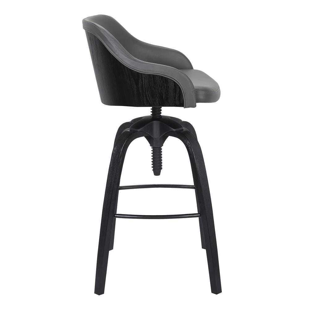 Contemporary Adjustable Barstool in Black Brushed Wood Finish and Grey Faux Leather. Picture 3