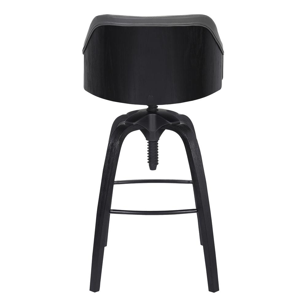 Contemporary Adjustable Barstool in Black Brushed Wood Finish and Grey Faux Leather. Picture 4