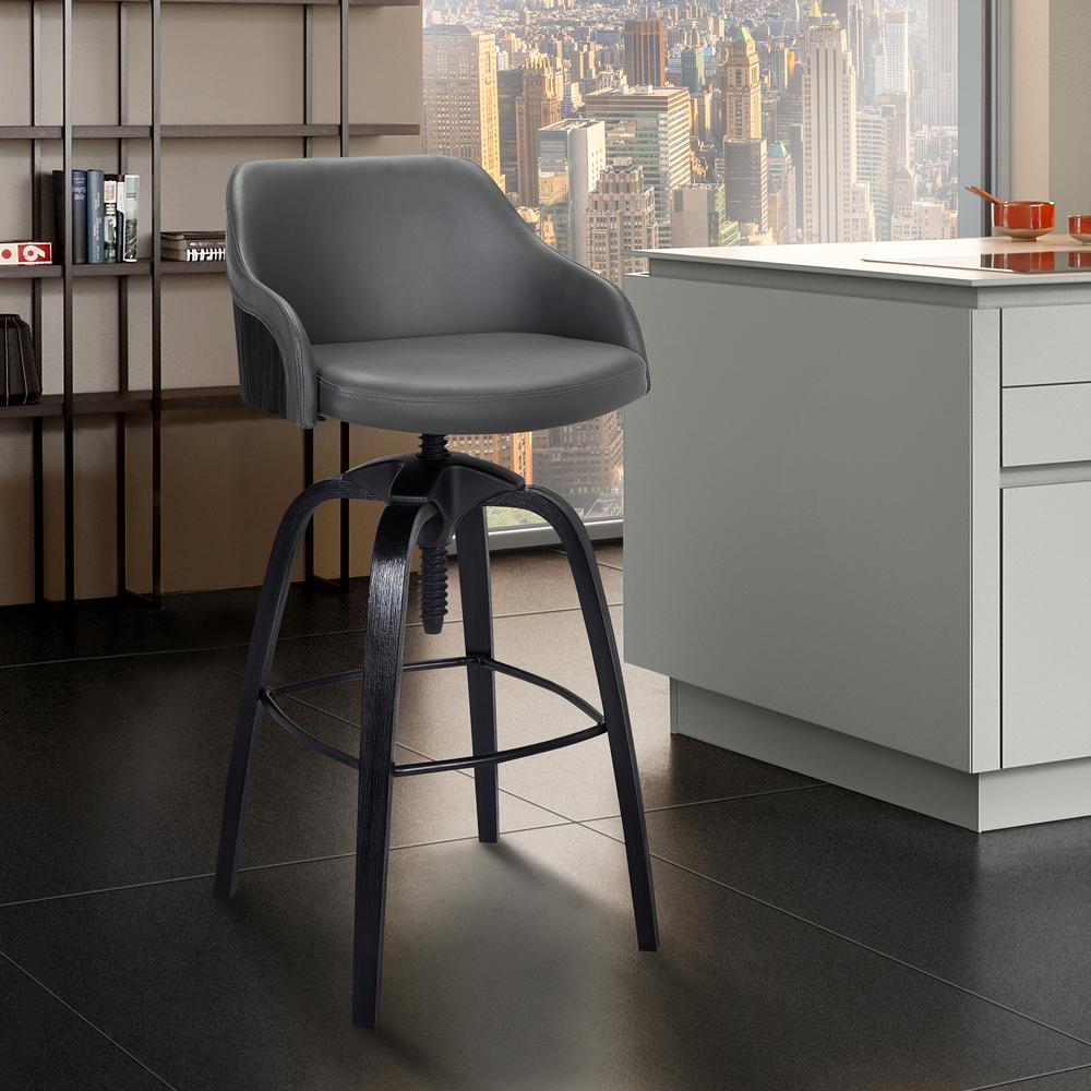 Contemporary Adjustable Barstool in Black Brushed Wood Finish and Grey Faux Leather. Picture 6