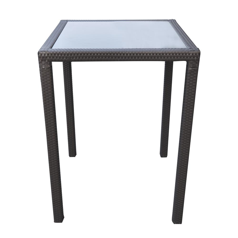 Outdoor Patio WickerBar Table with BlackGlass Top. Picture 1