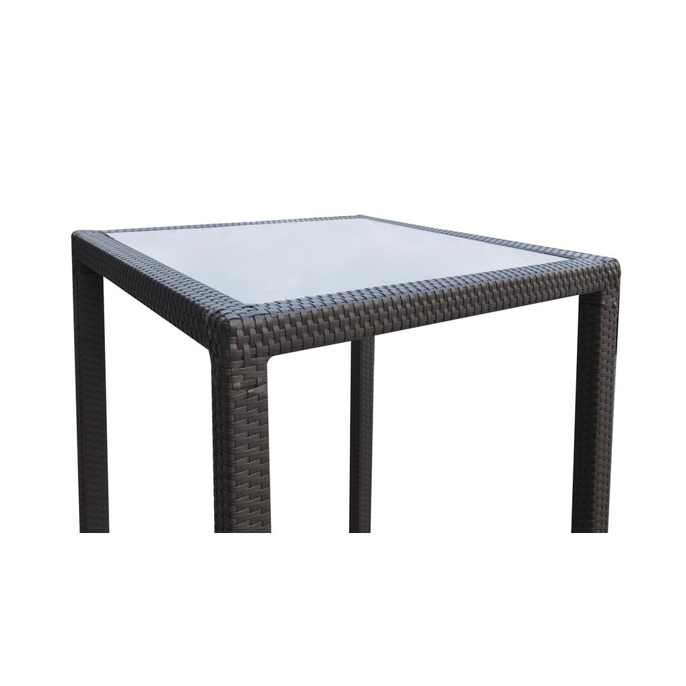 Outdoor Patio WickerBar Table with BlackGlass Top. Picture 2
