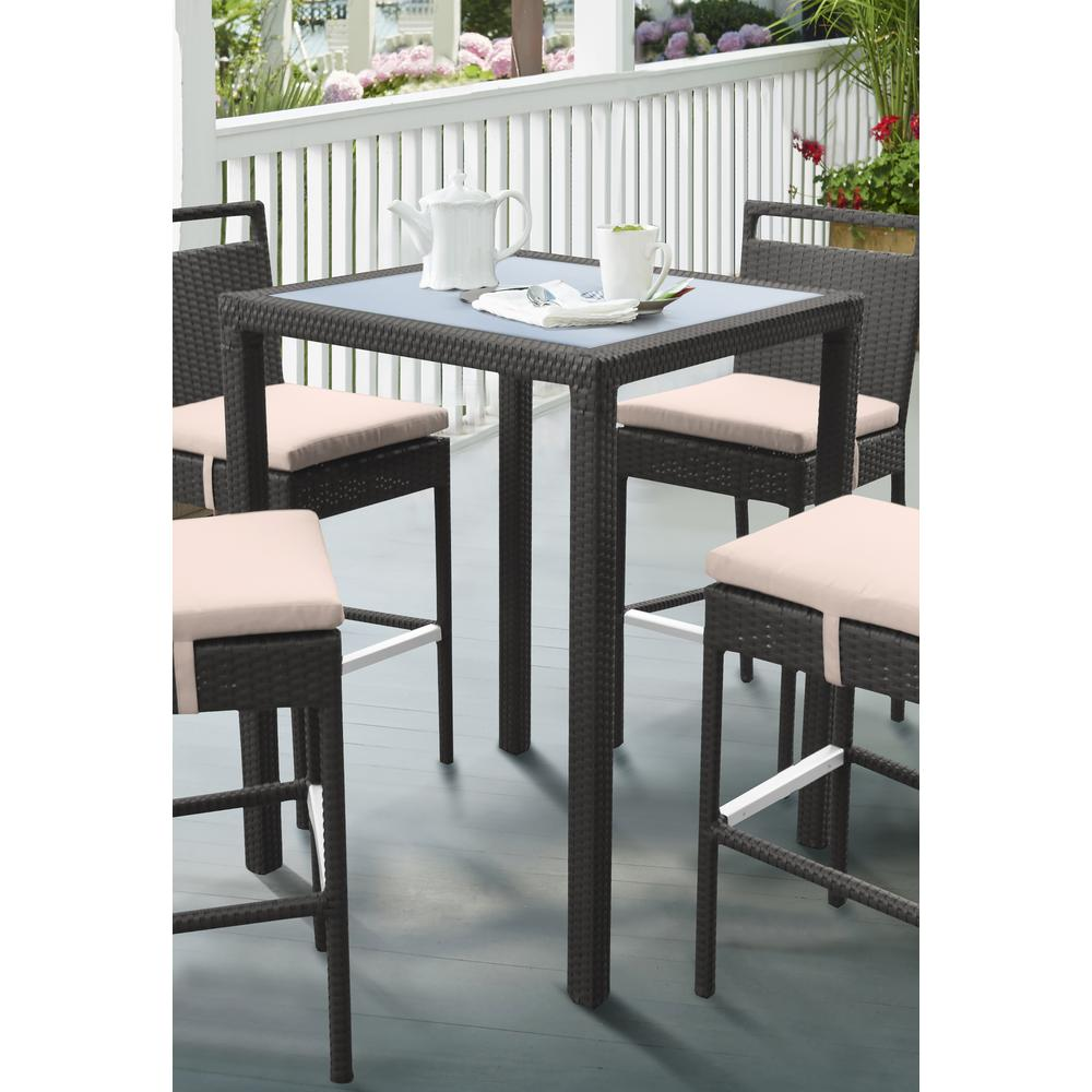 Outdoor Patio WickerBar Table with BlackGlass Top. Picture 4
