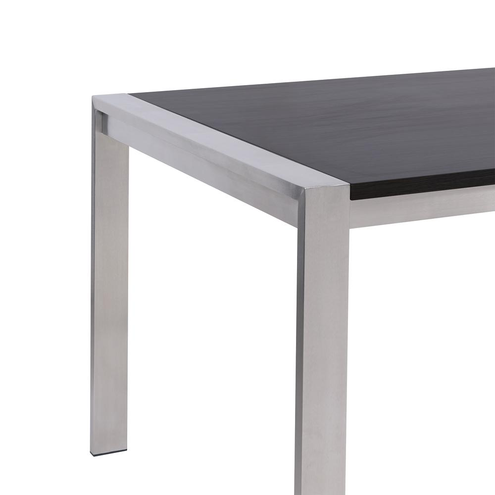 Contemporary Dining Table in Brushed Stainless Steel - Gray Walnut Top. Picture 2
