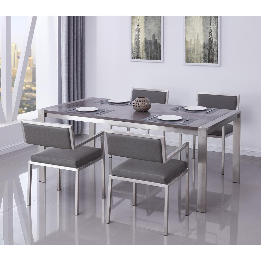 Contemporary Dining Table in Brushed Stainless Steel - Gray Walnut Top. Picture 3