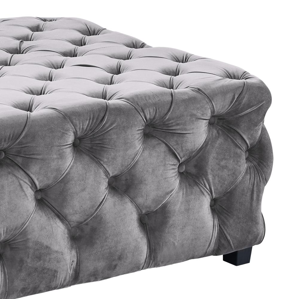 Contemporary Ottoman in Grey Velvet with Wood Legs. Picture 2