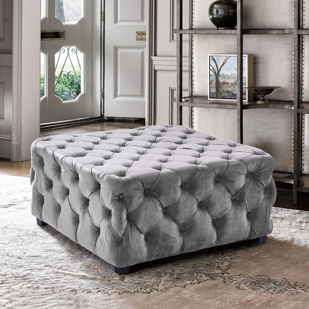 Contemporary Ottoman in Grey Velvet with Wood Legs. Picture 3