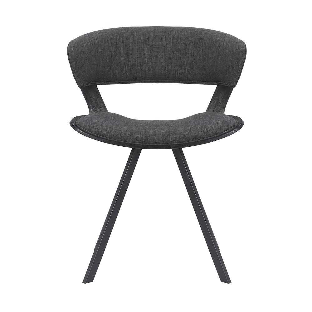 Ulric Wood and Metal Modern Dining Room Accent Chair in BLACK. Picture 1