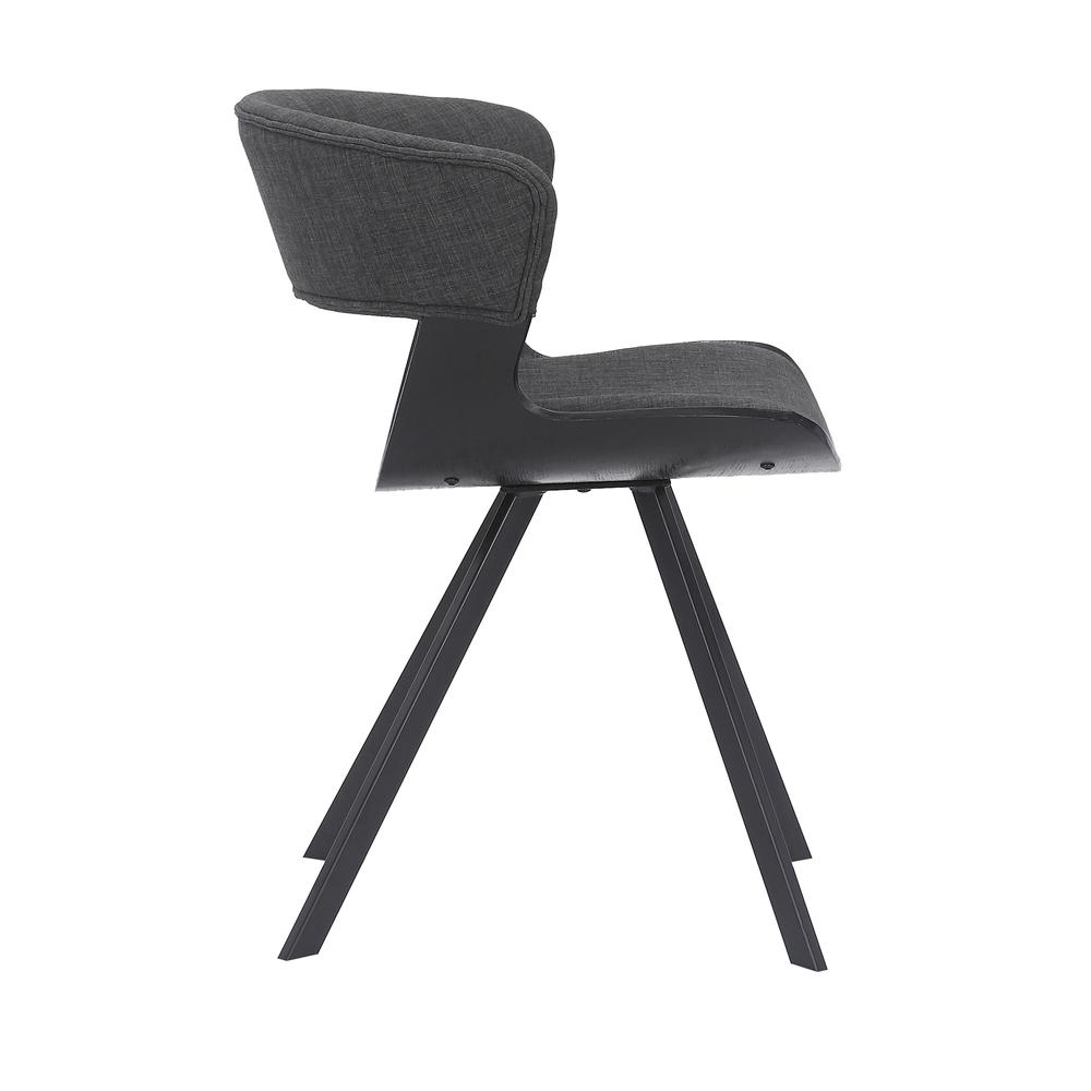 Ulric Wood and Metal Modern Dining Room Accent Chair in BLACK. Picture 2
