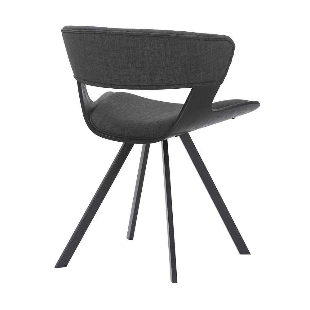 Ulric Wood and Metal Modern Dining Room Accent Chair in BLACK. Picture 3