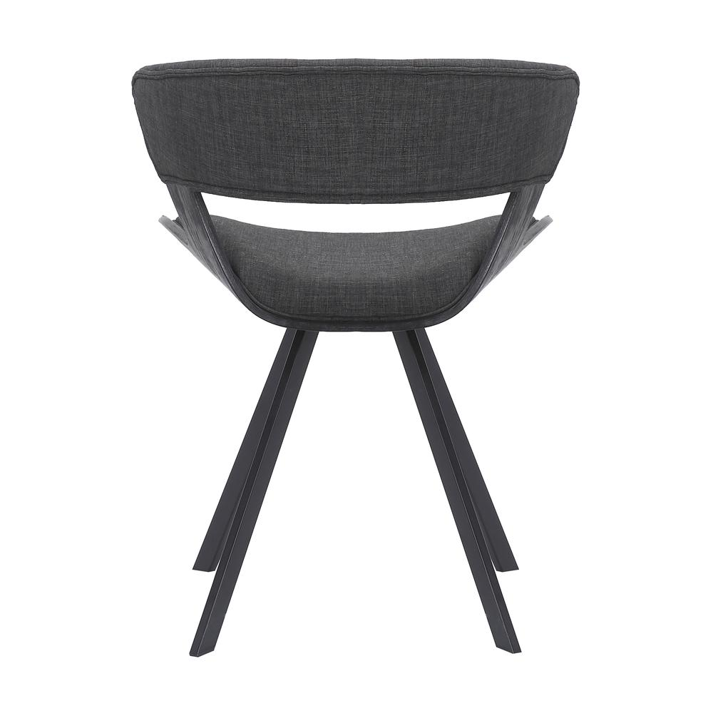 Ulric Wood and Metal Modern Dining Room Accent Chair in BLACK. Picture 4