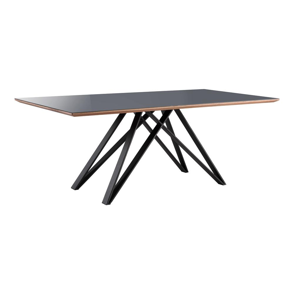 Urbino Mid-Century Dining Table in Matte Black Finish with Walnut and Dark Gray Glass Top. Picture 1