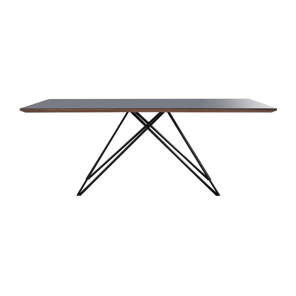 Urbino Mid-Century Dining Table in Matte Black Finish with Walnut and Dark Gray Glass Top. Picture 2