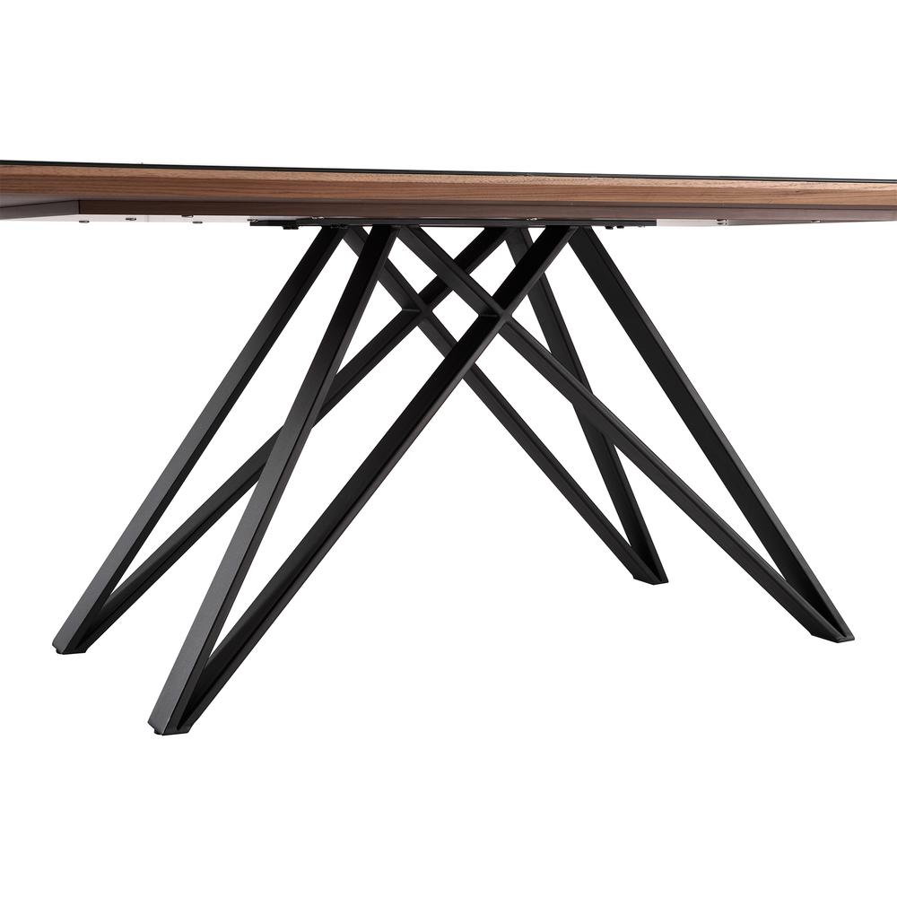 Urbino Mid-Century Dining Table in Matte Black Finish with Walnut and Dark Gray Glass Top. Picture 3