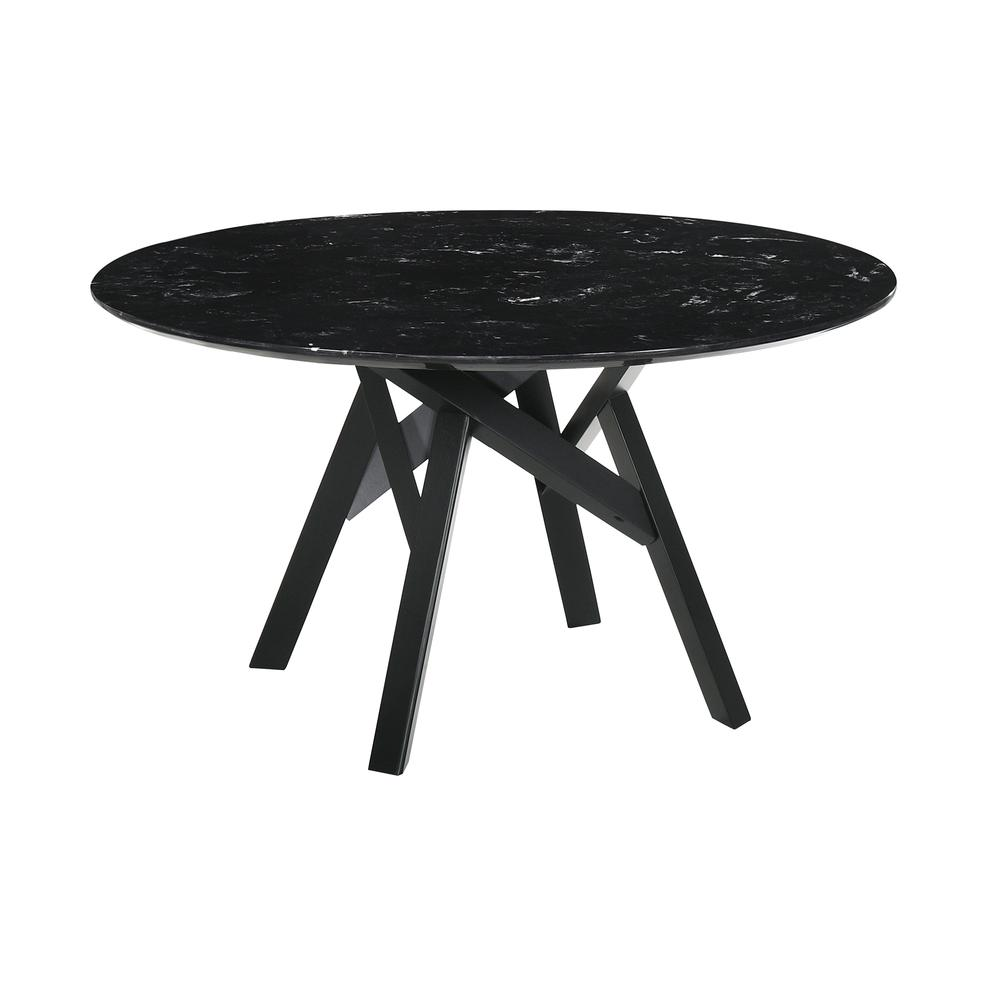 """Venus 54"""" Round Mid-Century Modern Black Marble Dining Table with Black Wood Legs. Picture 1"""